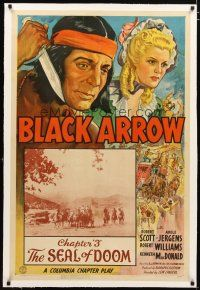 2e083 BLACK ARROW linen chapter 3 1sh '44 Columbia Native American serial, The Seal of Doom!