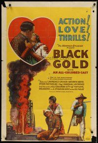 2e005 BLACK GOLD 1sh '27 stone litho, Norman Studios all-black thrilling epic of the oil fields!