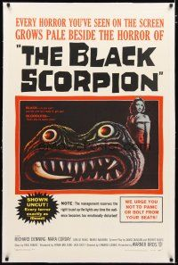 2e084 BLACK SCORPION linen 1sh '57 art of wacky creature looking more laughable than horrible!