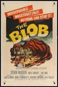 2e086 BLOB linen 1sh '58 art of the indescribable & indestructible monster, nothing can stop it!