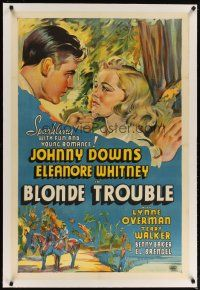 2e087 BLONDE TROUBLE linen Other Company 1sh '37 stone litho of Eleanore Whitney & Johnny Downs!