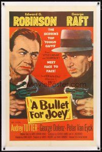 2e097 BULLET FOR JOEY linen 1sh '55 George Raft & Edward G. Robinson pointing guns at each other!