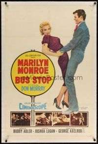 2e099 BUS STOP linen 1sh '56 great art of sexy smiling Marilyn Monroe held by cowboy Don Murray!