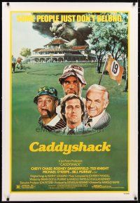 2e100 CADDYSHACK linen 1sh '80 Chevy Chase, Bill Murray, Rodney Dangerfield, golf comedy classic!