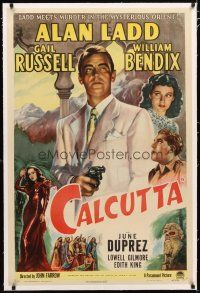 2e101 CALCUTTA linen 1sh '46 great artwork of Alan Ladd pointing gun & sexy Gail Russell in India!