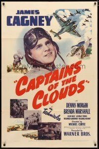 2e009 CAPTAINS OF THE CLOUDS 1sh '42 pilot James Cagney, cool art of World War II airplanes!