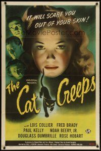 2e010 CAT CREEPS 1sh '46 cool art of Lois Collier, it will scare you out of your skin!