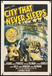 2e110 CITY THAT NEVER SLEEPS linen 1sh '53 great art of gunfight under elevated train in Chicago!