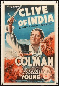 2e112 CLIVE OF INDIA linen int'l 1sh '35 stone litho of Ronald Colman with sword & Loretta Young!