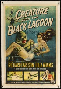 2e120 CREATURE FROM THE BLACK LAGOON linen signed 1sh '54 by Ben Chapman, classic monster art!