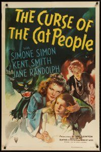 2e012 CURSE OF THE CAT PEOPLE 1sh '44 close up of sexy Simone Simon + great art of snarling cat!