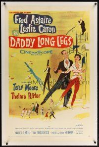 2e123 DADDY LONG LEGS linen 1sh '55 wonderful art of Fred Astaire in tails dancing w/ Leslie Caron!
