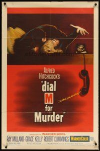 2e013 DIAL M FOR MURDER 1sh '54 Alfred Hitchcock, Grace Kelly reaches for phone while attacked!