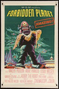 2e149 FORBIDDEN PLANET linen 1sh '56 most classic art of Robby the Robot carrying sexy Anne Francis!