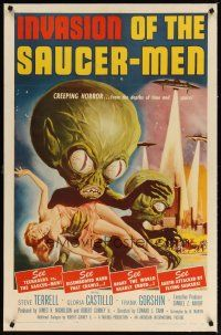 2e215 INVASION OF THE SAUCER MEN linen 1sh '57 classic art of cabbage head aliens & sexy girl!