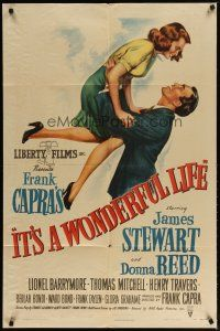 2e002 IT'S A WONDERFUL LIFE style A 1sh '46 wonderful James Stewart & Donna Reed art, Capra classic!