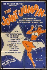 2e024 JOINT IS JUMPIN' 1sh '49 fast-moving extravaganza with all-star colored cast, sexy girl art!