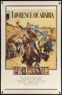 2e237 LAWRENCE OF ARABIA linen pre-Awards 1sh '63 David Lean, Terpning art of O'Toole on camel!