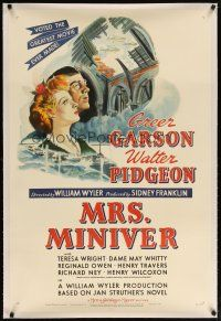 2e270 MRS. MINIVER linen style D 1sh '42 directed by William Wyler, voted greatest movie ever made!