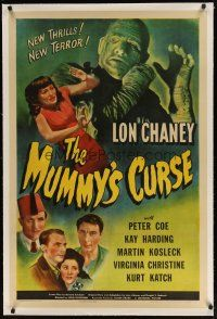 2e271 MUMMY'S CURSE linen 1sh '44 great image of bandaged Lon Chaney Jr. menacing pretty girl!