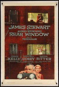 2e298 REAR WINDOW linen 1sh '54 Alfred Hitchcock, art of voyeur Jimmy Stewart & sexy Grace Kelly!
