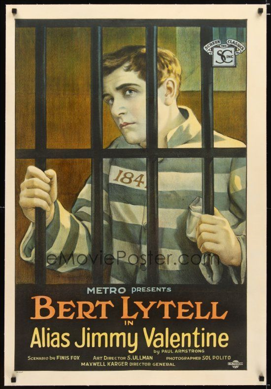 1 Of 1 : 2e066 ALIAS JIMMY VALENTINE Linen 1sh U002720 Cool Stone Litho Of Bert  Lytell Behind Prison Bars!
