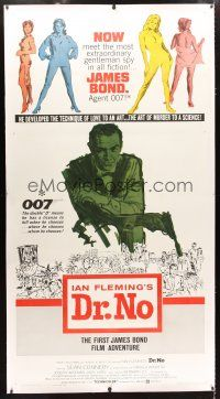 2f046 DR. NO linen 3sh '62 art of Sean Connery as secret agent James Bond 007, incredibly rare!
