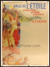 2f003 SALLE DE L'ETOILE linen French 1p 1902 Coulet art of audience, girl & early movie projector!
