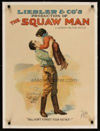 2f094 SQUAW MAN linen stage play poster '07 stone litho of man holding young child!