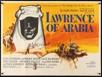 2g105 LAWRENCE OF ARABIA pre-Awards British quad '62 David Lean classic, Peter O'Toole, best art!