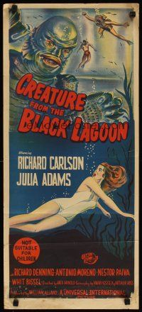 2h209 CREATURE FROM THE BLACK LAGOON Aust daybill '54 hand litho of monster & sexy Julie Adams!