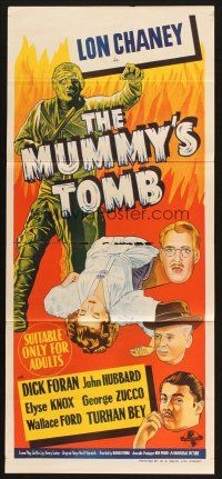 2h229 MUMMY'S TOMB Aust daybill '42 Lon Chaney Jr, great different monster stone ltho!