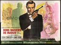 2h107 FROM RUSSIA WITH LOVE French 4p '64 art of Sean Connery as James Bond 007 by Boris Grinsson!