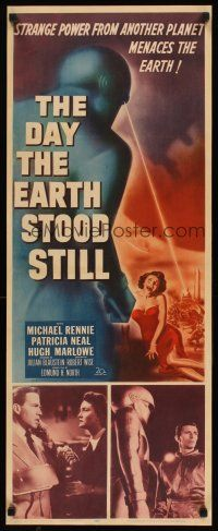 2h001 DAY THE EARTH STOOD STILL insert '51 Robert Wise classic, art of Gort & scared Patricia Neal