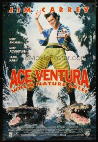 2m025 ACE VENTURA WHEN NATURE CALLS DS 1sh '95 directed by Steve Oedekerk, wacky Jim Carrey!
