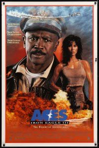 2m026 ACES IRON EAGLE III 1sh '92 close-up of Lou Gossett Jr, sexy tough Rachel McLish in chains!