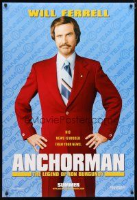 2m046 ANCHORMAN teaser DS 1sh '04 The Legend of Ron Burgundy, image of newscaster Will Ferrell!