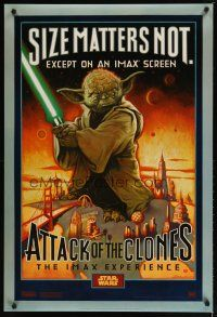 2m059 ATTACK OF THE CLONES IMAX style A DS 1sh '02 Star Wars Episode II, McMacken art of Yoda!