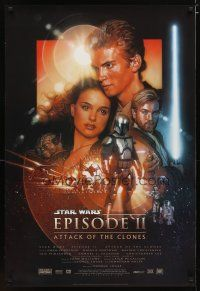 2m062 ATTACK OF THE CLONES style B DS 1sh '02 Star Wars Episode II, artwork by Drew Struzan!