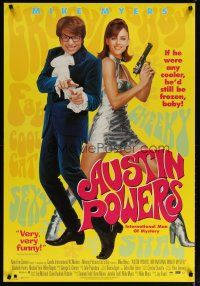 2m063 AUSTIN POWERS: INT'L MAN OF MYSTERY video 1sh '97 Mike Myers, sexy Elizabeth Hurley!