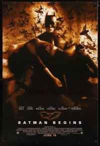 2m078 BATMAN BEGINS June 15 advance 1sh '05 Bale as the Caped Crusader carrying Katie Holmes!