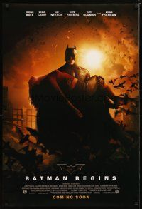 2m077 BATMAN BEGINS coming soon advance DS 1sh '05 Bale as the Caped Crusader carrying Katie Holmes