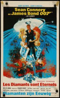 2p015 DIAMONDS ARE FOREVER Belgian '71 art of Sean Connery as James Bond by Robert McGinnis!