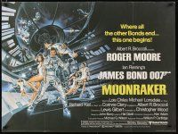 2p008 MOONRAKER British quad '79 art of Roger Moore as James Bond & sexy space babes by Goozee!