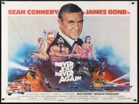 2p009 NEVER SAY NEVER AGAIN British quad '83 art of Sean Connery as James Bond 007 by Obrero!