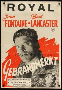 2p041 KISS THE BLOOD OFF MY HANDS Dutch '48 Joan Fontaine & image of fugitive Burt Lancaster!