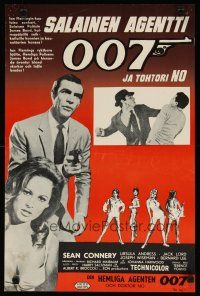 2p001 DR. NO Finnish '62 different art & images of Sean Connery as Bond & sexy Ursula Andress!