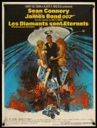 2p012 DIAMONDS ARE FOREVER French 23x32 '71 art of Sean Connery as James Bond by Robert McGinnis!
