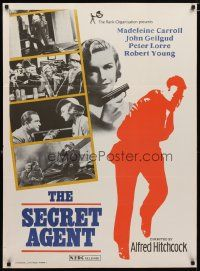2p033 SECRET AGENT Indian R70s Hitchcock, Peter Lorre, sexy Madeleine Carroll pointing gun!