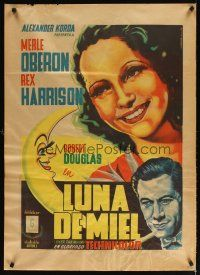 2p029 OVER THE MOON Mexican poster '46 Merle Oberon, Rex Harrison, Vargas Ocampo art!